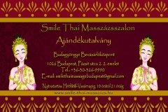 Thai Massage Gift card Smile thai masszazs Budagyongye